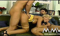 Naughty blonde teacher pounded by two horny studs