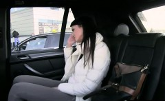 Brunette in panties fucked in fake taxi