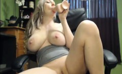 Blonde with Massive Juggs Dildo Playtime