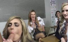 Four schoolgirls sharing one cock