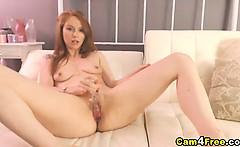 Gorgeous Redhead Strips and Masturbates