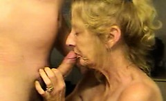 Blond mature wife loves sperm