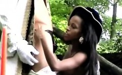 Victorian ebony beauty sucks a white mans bone outdoor