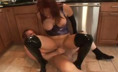 Busty redhead mom in latex and blonde in latex blow and get nailed