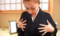 Japanese geisha teasing her nipples