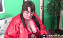Slutty mature teasing her big tits