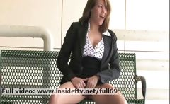Lidia _ Amateur brunette playing with her boobs and pussy in public