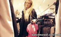 Pretty real amateur blonde chick fucked inside the dressing room for cash