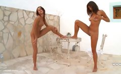 Two hungarian chicks naked outdoor