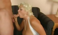 Busty blonde get to swallow cum