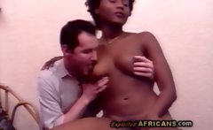 Black hotty goes wild sucking off white dong in vintage porn