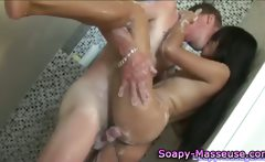 Sexy soaped up asian babe