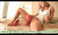 Jessi cute amateur blonde with thong licking shoe and