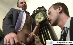Two gay boys in the office take a break for some oral and ass banging