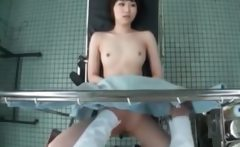 Hot asian getting pussy checked at the doctor squirts