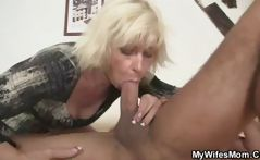 Blonde mother in law seduces him and blows and fucks, and is caught