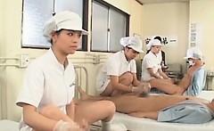 Japanese nurses get slick hairy twats fucked in group sex